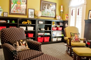 kids playroom with basic black bookshelves for great storage