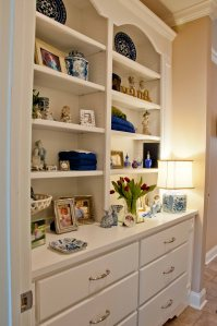 white bookcase fo r displaying all those accent pieces